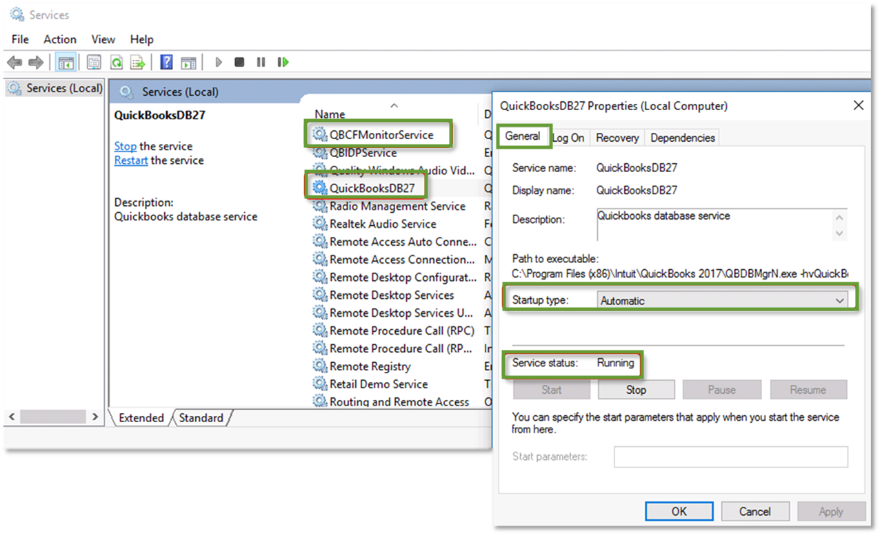 This image shows the general tab when you right click a Windows service and select properties