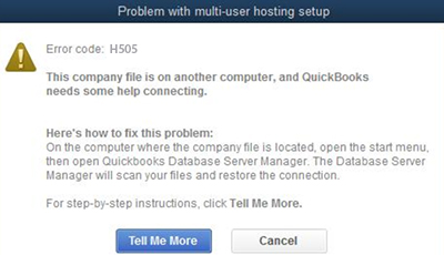 This shows the error message you get in QuickBooks for error H505