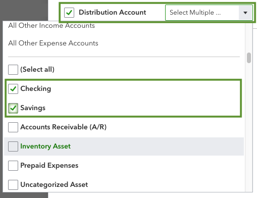 This shows account options you can select after you open the customization window. These options are under the filter section and distribution account drop-down menu.