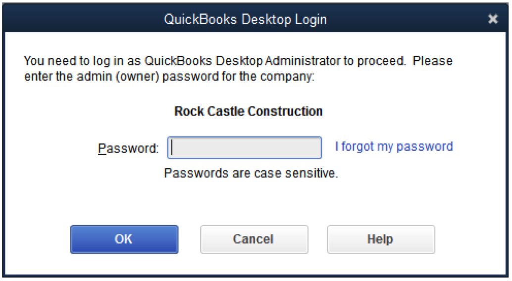 lost admin password quickbooks