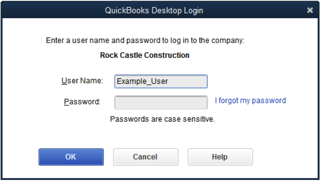 QuickBooks Desktop password reset