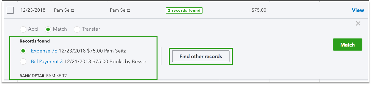 QuickBooks Online Banking Tab Find Other Records