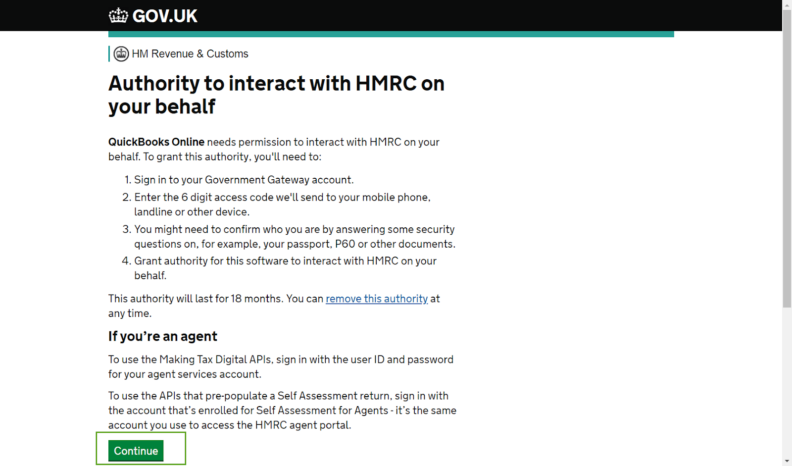 Authorise QuickBooks to interact with HMRC - MTD f