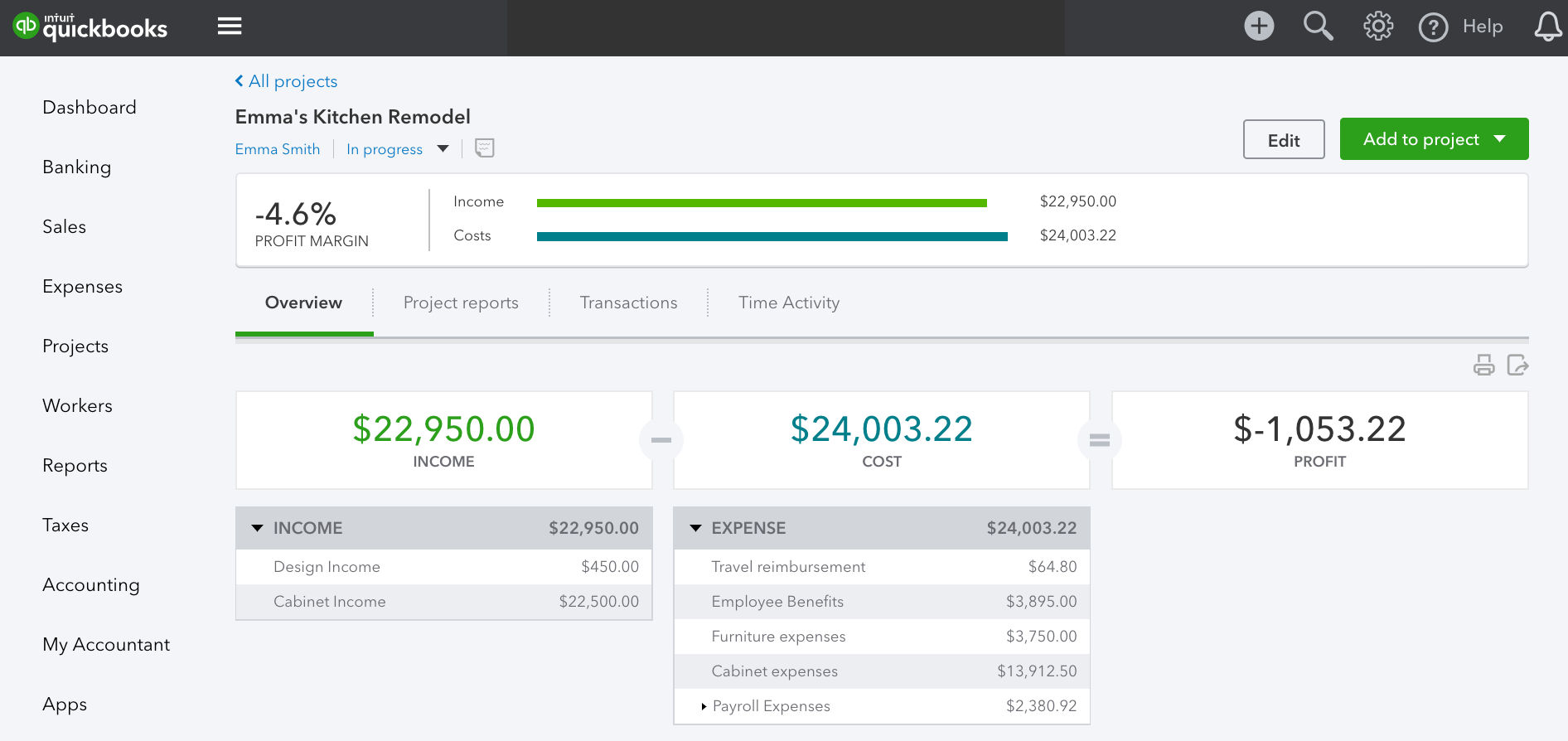 Track income, costs, and profitability by project - Project Overview tab