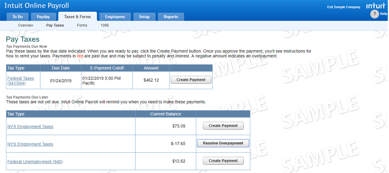 Verify tax overpayment is a negative amount on the Pay Taxes page in QuickBooks