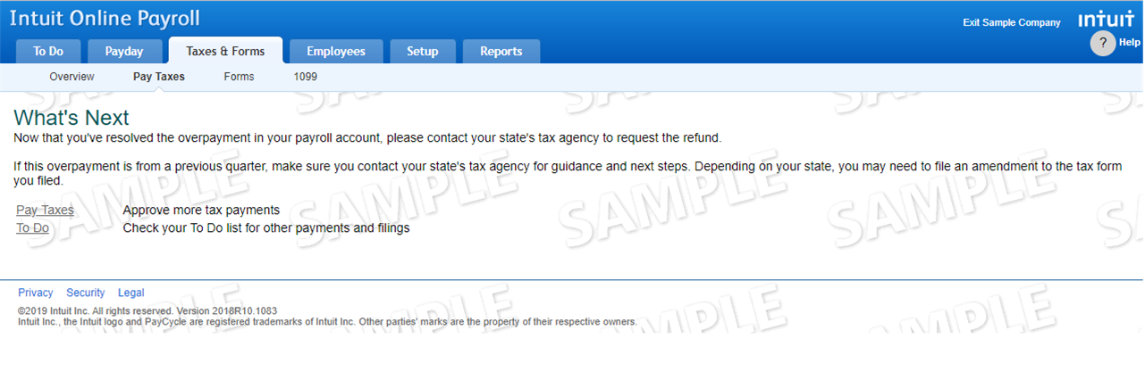 Resolve tax overpayment screen in QuickBooks