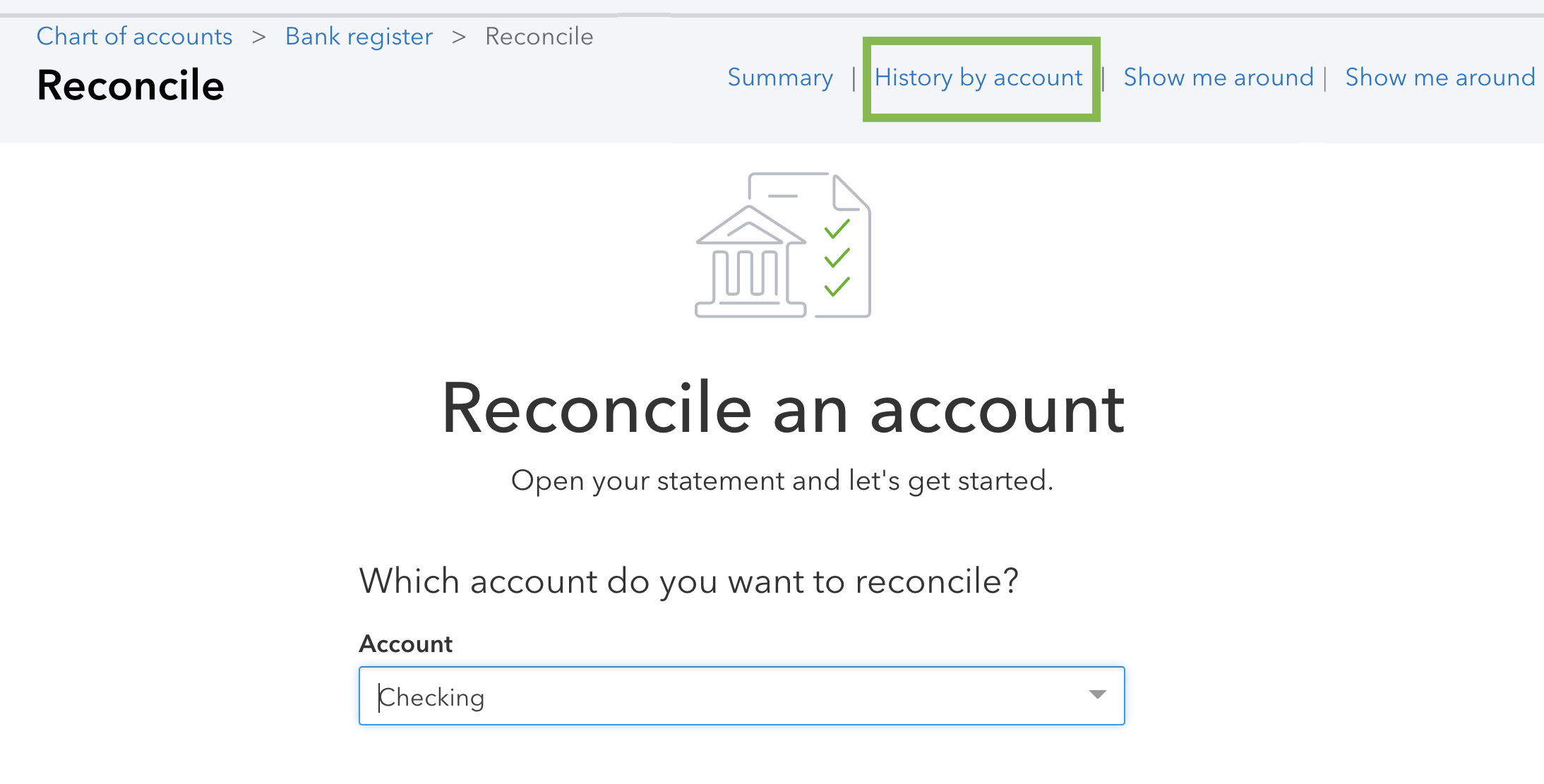 This is an image of the main reconcile an account screen, highlighting the link to History by account