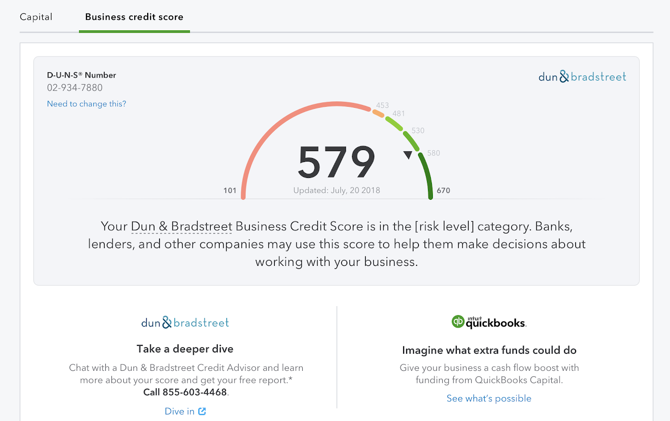 This shows your business credit score on the business credit score tab of the capital menu.
