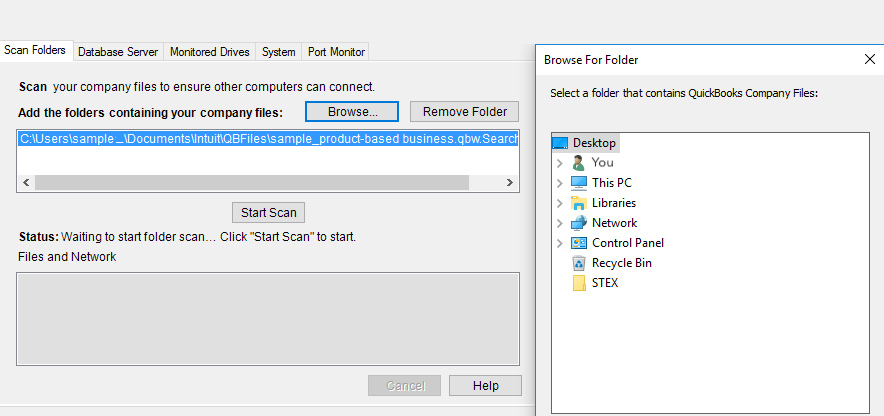 This shows the open window after you select Browse. Find the folders holding your company files.