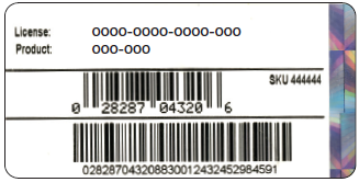This image shows the label on the original packaging of the QuickBooks Desktop Box. The license number is at the top, product number on the bottom.