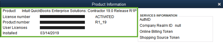 This image shows the top section of the Product Information window which lists your product name, release, license number, product number, and other important info.