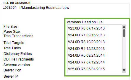 This shows the versions used for this company file.
