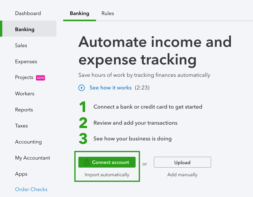 Connect bank and credit card accounts to QuickBook    - QuickBooks