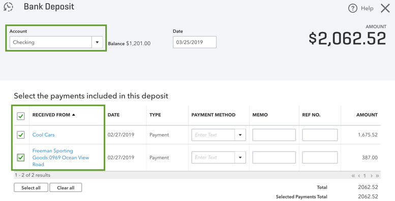 This image shows a normal bank deposit screen with a number of deposits on the page.