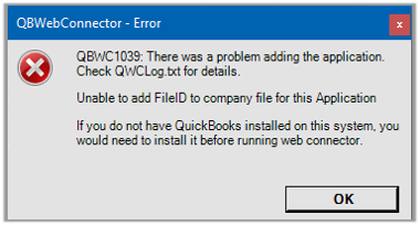Unable to add FileID to company file for this Application
