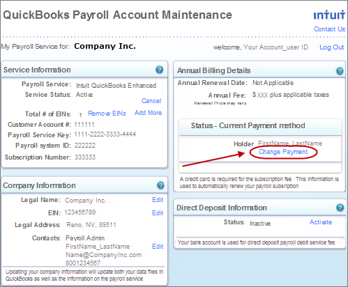 Update billing information for your quickbooks desktop payroll change payment link reheart Image collections
