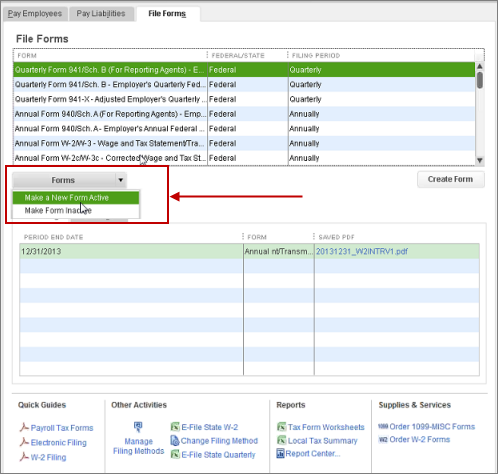 Make a w2 or w3 tax form active in QuickBooks Desktop