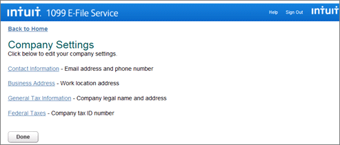 Intuit 1099 E-File service review company settings page