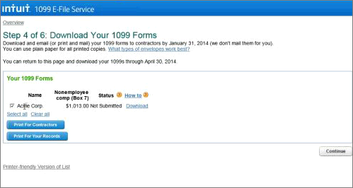 Intuit 1099 E-File Service access archive and previously filed forms