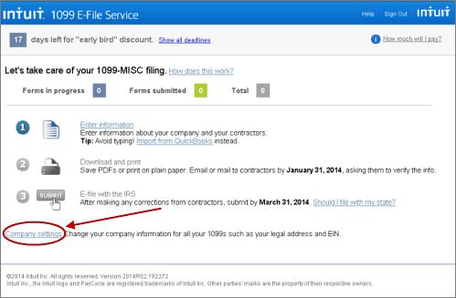 Intuit 1099 E-File Service enter company information page