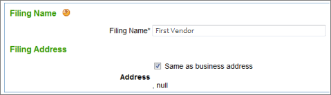 Intuit 1099 E-File Service enter company address and filing name page
