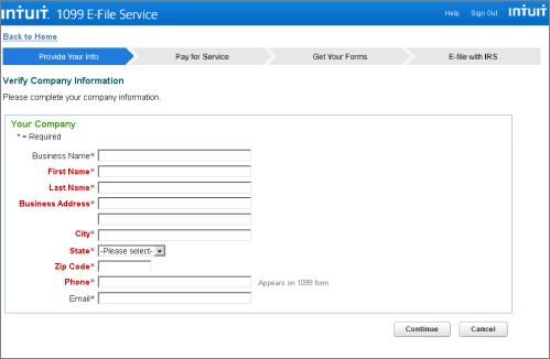 Intuit 1099 E-File Service verify company information page