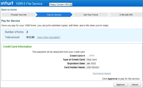 Intuit 1099 E-File pay for service page