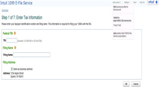 Intuit 1099 E-File Service filing multiple companies