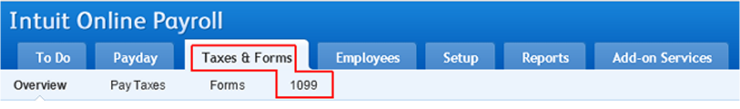 Select Tax Form 1099 in Intuit Online Payroll
