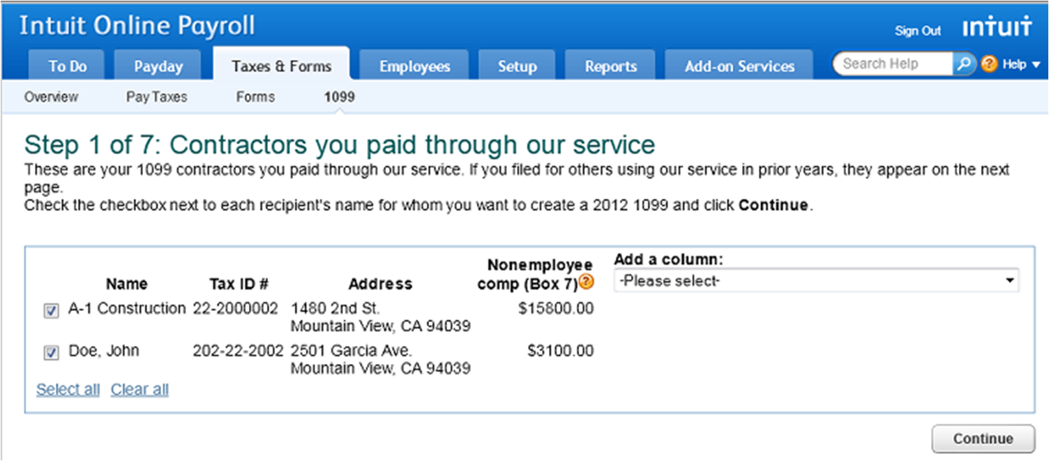 1099 E-File Service for contractors in Intuit Online Payroll