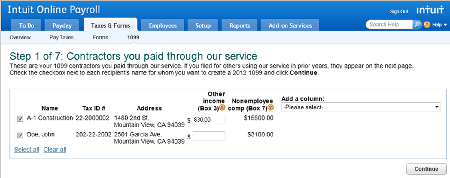 Add additional amounts in 1099 E-File Service in Intuit Online Payroll