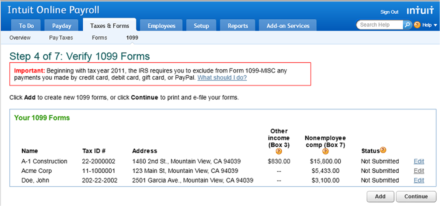 Verify 1099 Forms from previous years in Intuit Online Payroll