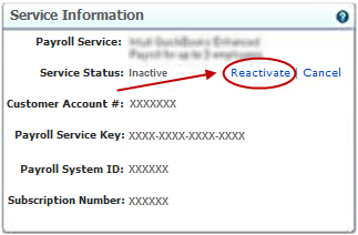 Reactivate service status in QuickBooks Payroll