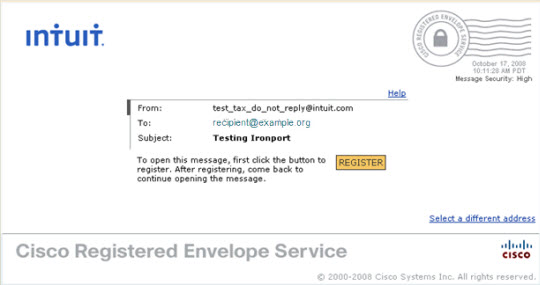CISCO secure emails from Intuit - Account set up and viewing