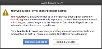 Your QuickBooks Payroll subscription has expired alert