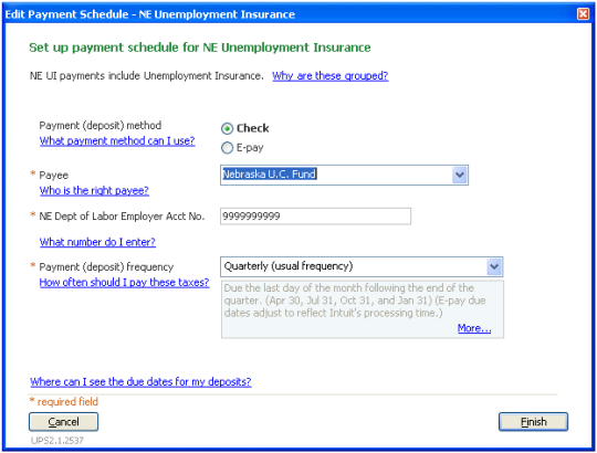 Edit tax payment schedule in QuickBooks