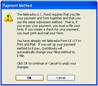Tax payment method warning about Nebraska U.C. Fund in QuickBooks