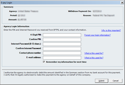 e-pay login in QuickBooks Payroll Center