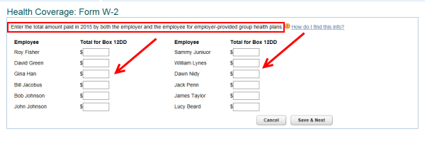 Online Payroll Employer Sponsored Health Coverage W 2 Entry