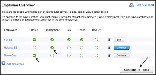 Employee overview screen in QuickBooks Online,