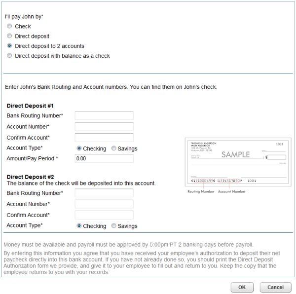 direct deposit authorization form