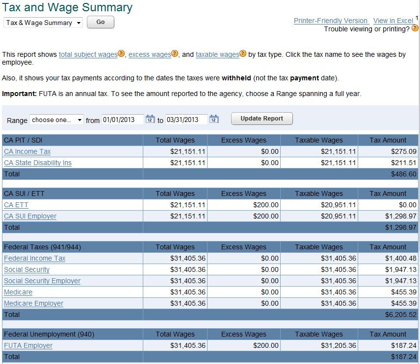 view payroll tax reports