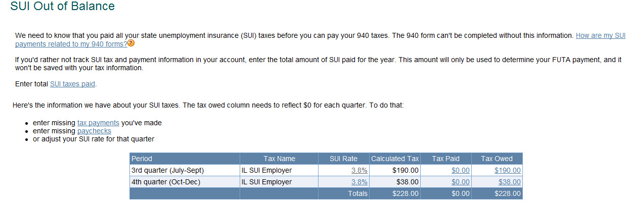 SUI Out of Balance page appears when trying to pay FUTA taxes an ...