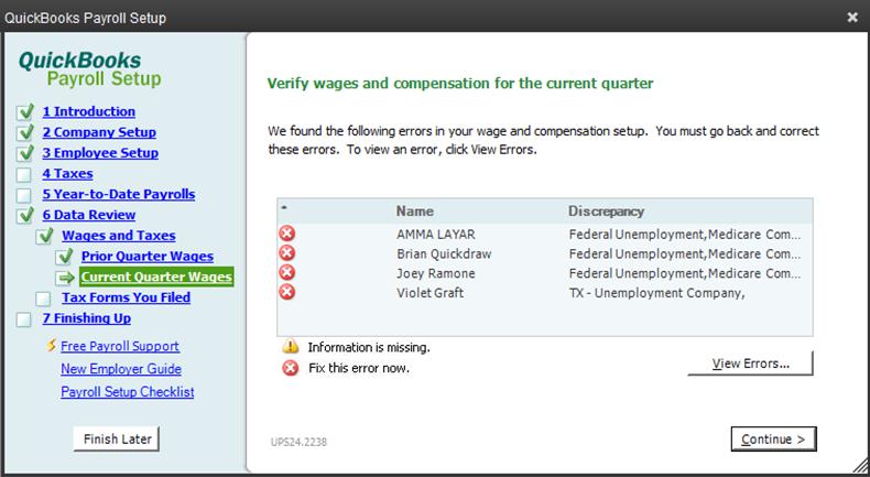 QuickBooks payroll checkup errors