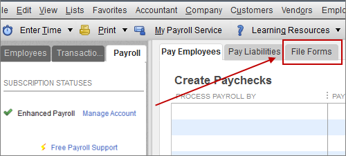 file forms tab in QuickBooks Payroll Center