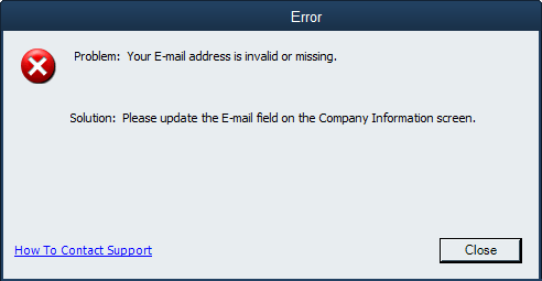 your email address is invalid or missing error screen in QuickBooks