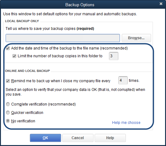 Company file backup options menu in QuickBooks