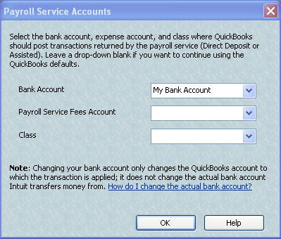 Change payroll fees account in QuickBooks
