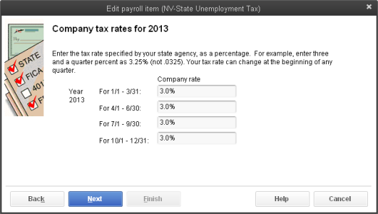 Enter SUI tax company rates when updating SUI rates in QuickBooks Desktop