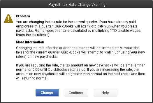 Payroll Tax Rate Change Warning when changing SUI rates in QuickBooks Desktop